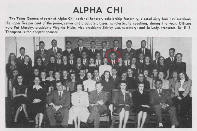"Best (circled) as part of the membership of Alpha Chi, 1948 ""Round Up"""