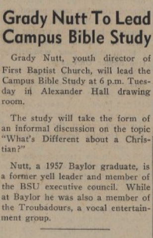 "Article on Nutt's scheduled Bible study on campus, from the April 3, 1958 ""Baylor Lariat"""