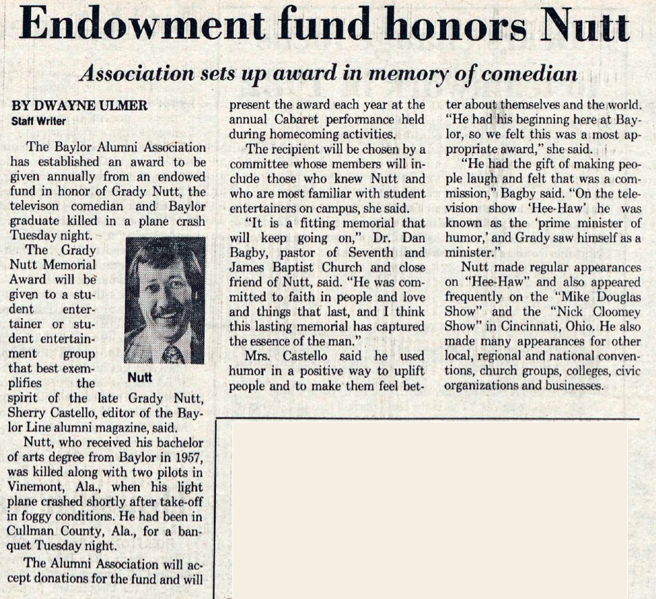 "Article on Grady Nutt Memorial Award, from the November 20, 1982 ""Baylor Lariat"""