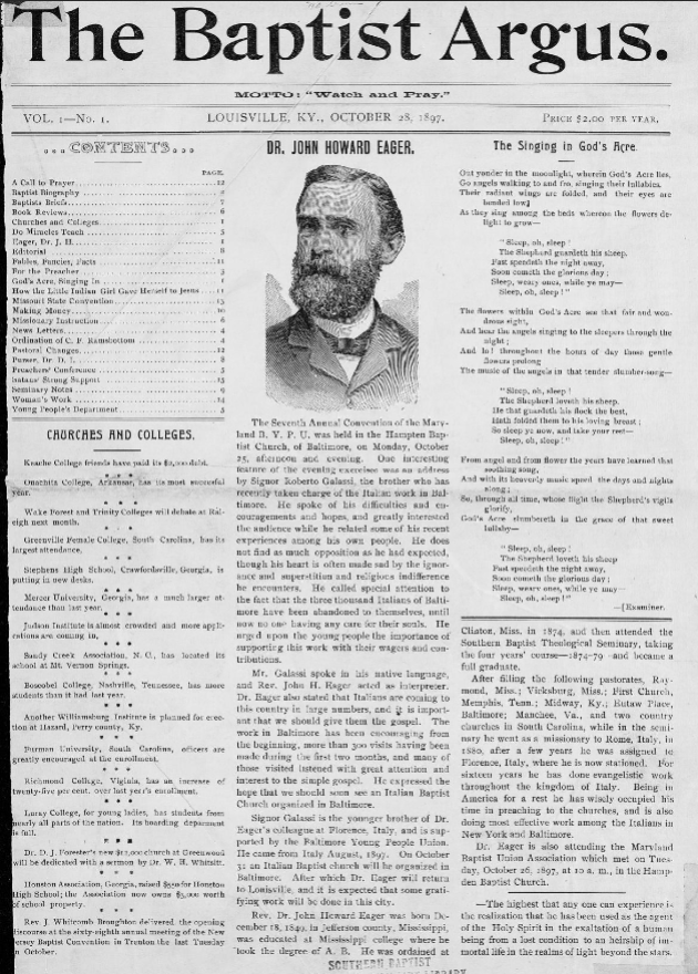 """The Baptist Argus,"" Vol. 1, No. 1 - March 28, 1897."