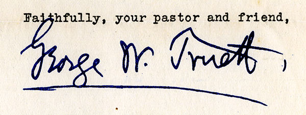 G.W. Truett's signature from a letter dated January 3, 1942. Digital image from an original held by The Texas Collection, Baylor University, Waco, TX