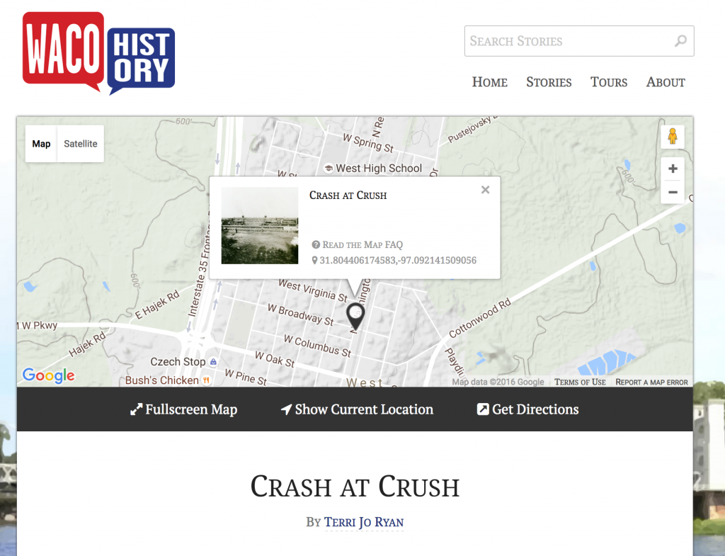 Screenshot of Crash at Crush story from Waco History (http://wacohistory.org/items/show/70)