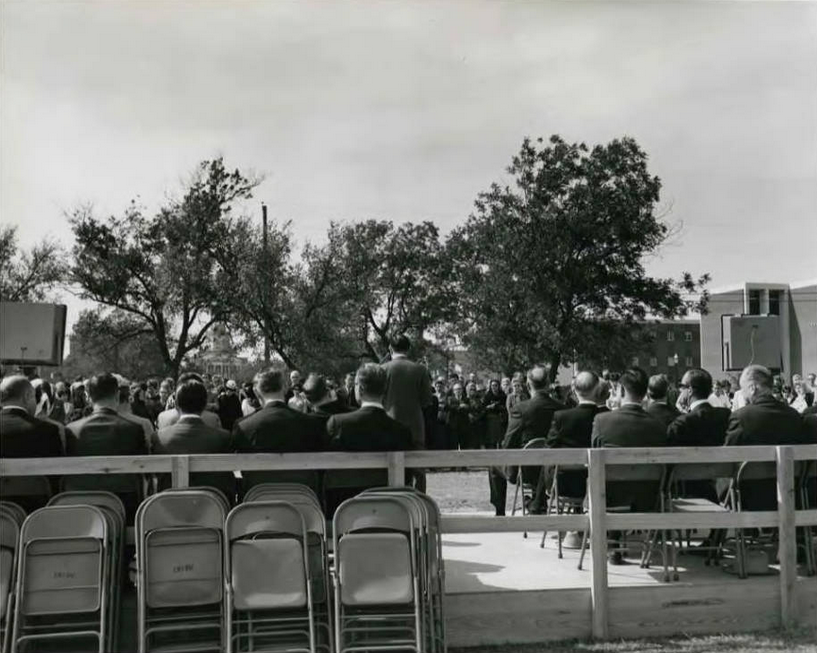 View from behind the speakers' platform at the groundbreaking ceremony. Note Pat Neff Hall in background and Marrs McLean Science building on right. Photo by Windy Drum. Image courtesy Baylor University, The Texas Collection, Waco, TX via The Texas Collection Photographic Archive.