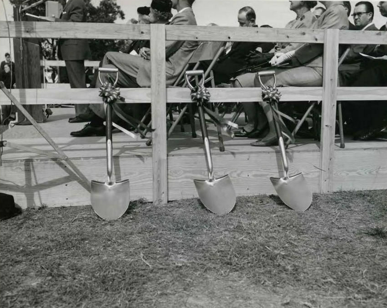 Ceremonial shovels await the beginning of festivities next to the speakers' platform.