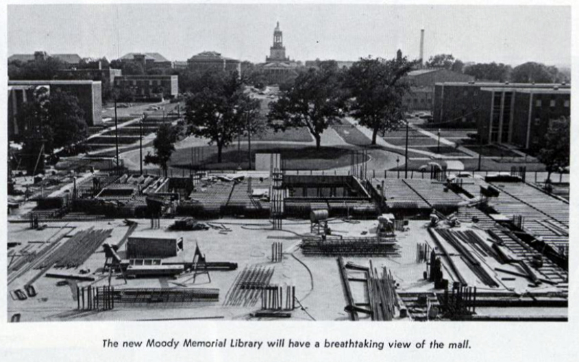 "Image from construction site of Moody Memorial Library toward Fountain Mall from 1967 ""Baylor Round Up."""