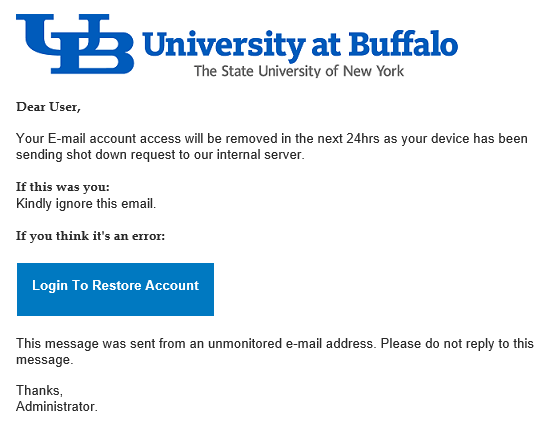Phishing from the University at Buffalo?!?!? | PHISH FREE