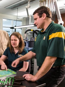 Sarah Stair discusses her research with Dr. David Jack, an assistant professor of mechanical engineering in Baylor's School of Engineering and Computer Science.