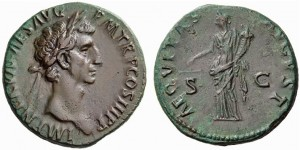 As of Nerva struck at Rome, AD 97. Obverse: bust right of Nerva with imperial titles.  Reverse: Aequitas standing left holding cornucopia and scales, AEQVITAS AVGVST.