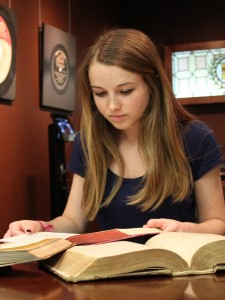 Katherine Ellis will present her research on the Book of Job at URSA Scholars Week. Photo by Caleb Barfield.