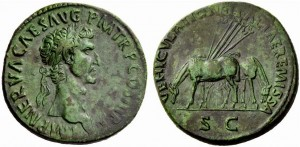 Sestertius of Nerva struck at Rome, AD 97. Obverse: bust right of Nerva with imperial titles.  Reverse: Two mules grazing  with a shaft and harnesses behind them, VEHICVLATIONE ITALIAE REMISSA.  The reverse type celebrates the forgiveness of the tax for the imperial post in Italy. Images courtesy of Dr. Nathan Elkins.