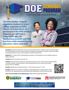 Click the image above to download the DOE Scholars Program flyer (PDF).