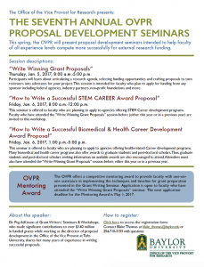 OVPR Proposal Development Seminar Flyer