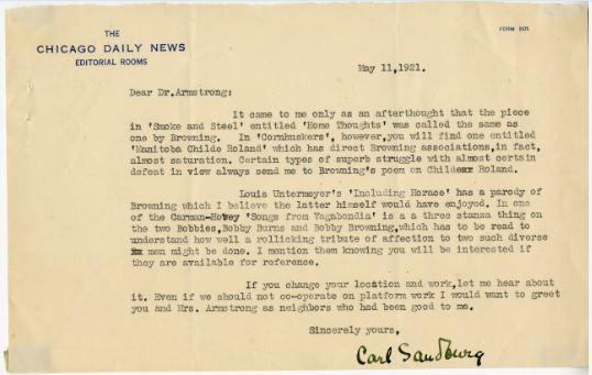 Sandburg letter to AJA