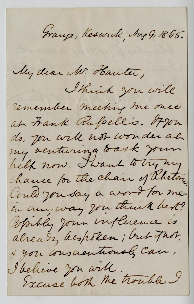 Letter from George MacDonald to Mr. Hunter. 9 August 1865.
