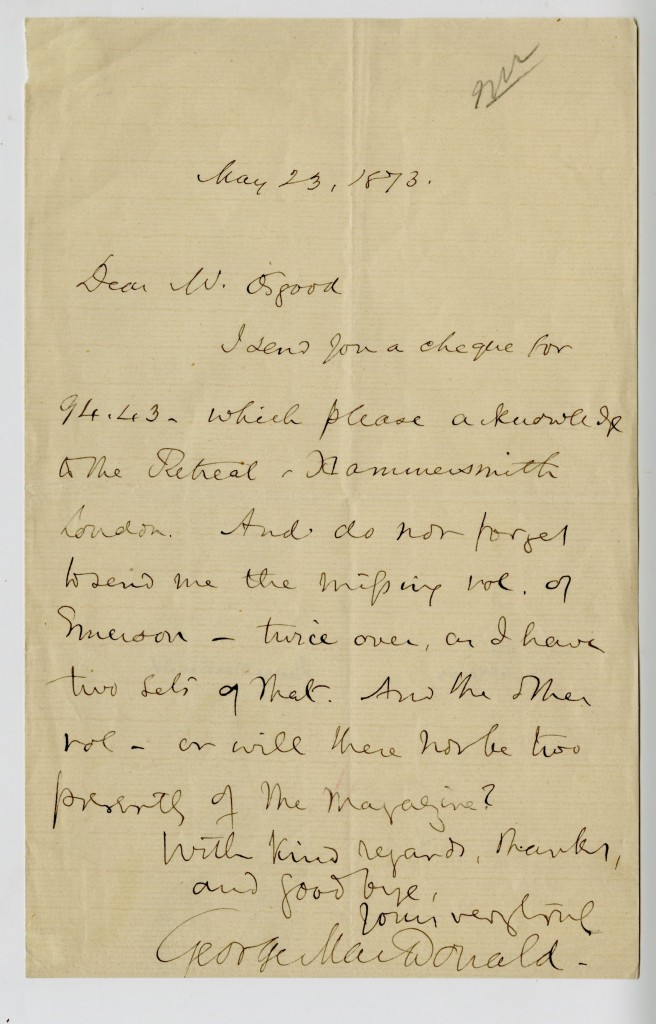 Letter from George MacDonald to Mr. Osgood. 23 May 1873.