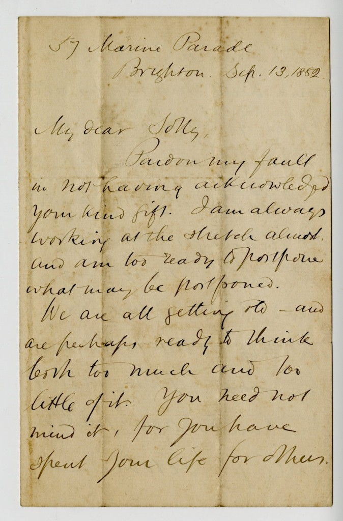 Letter from George MacDonald to Sally [last name unknown]. 13 September 1882.
