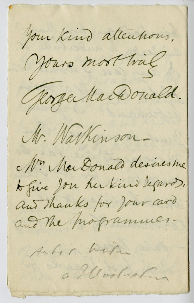 Letter from George MacDonald to Mr. Watkinson.  26 September 1883.