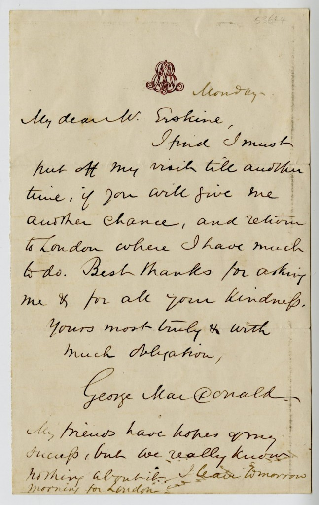 Letter from George MacDonald to Mr. Erskine. Monday, [no date].