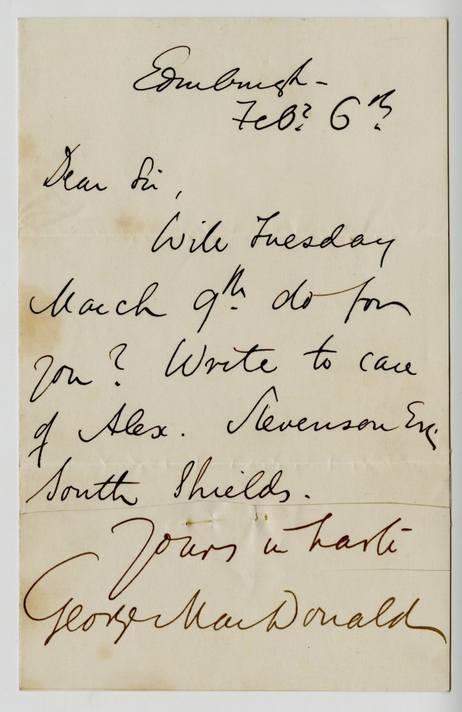 Letter from George MacDonald to an Unknown Correspondent. 6 February [no year].