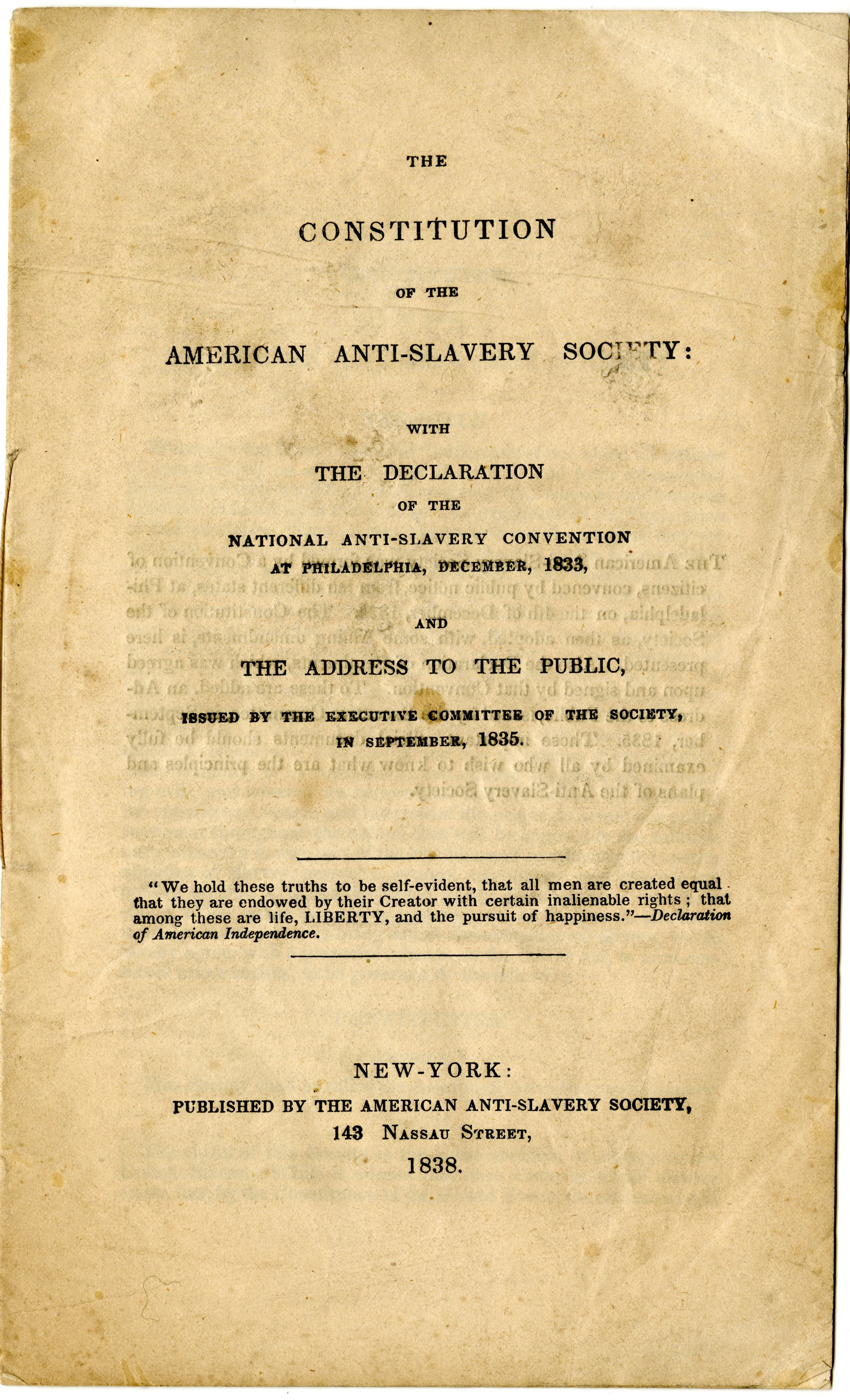 slavery in the constitution and declaration In 1780, when the massachusetts constitution went into effect, slavery was legal   the constitution of 1780, in contrast, contained a declaration that all men are .
