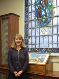 Dr. Fabienne Moine in the Belew Scholars Room of the Armstrong Browning Library