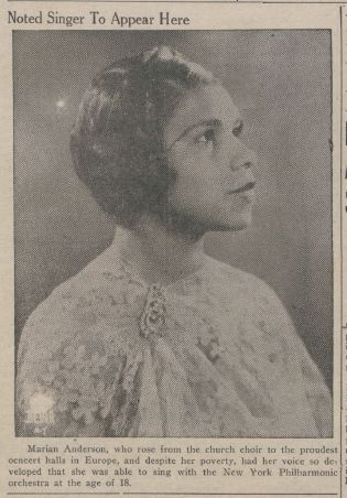 Friday's Lariat announced the expectation of a performance on Monday by Marian Anderson, Baylor Lariat, March 24, 1939.