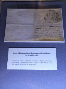 Letter from Elizabeth Barrett Browning to Richard Horne on display at the Keats-Shelley House