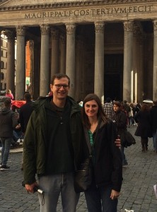 Josh and Jennifer Borderud in front of the Pantheon, Rome