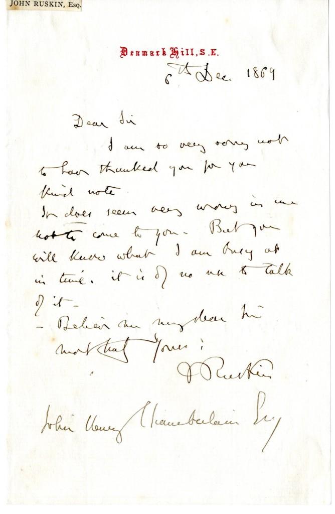 John Ruskin to John Henry Chamberlain. 6 December 1869.