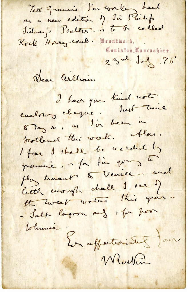 John Ruskin to William Cowper-Temple.