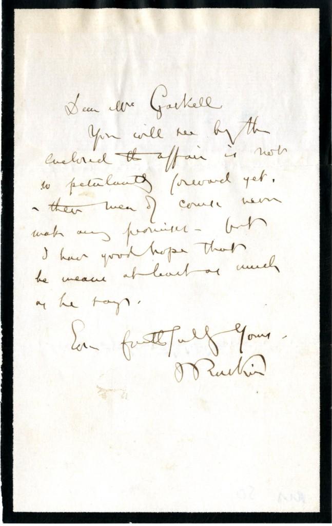 John Ruskin to Elizabeth Gaskell.