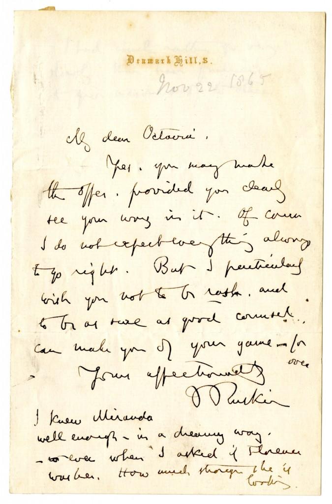 John Ruskin to Octavia Hill. 4 Oxtover 1888