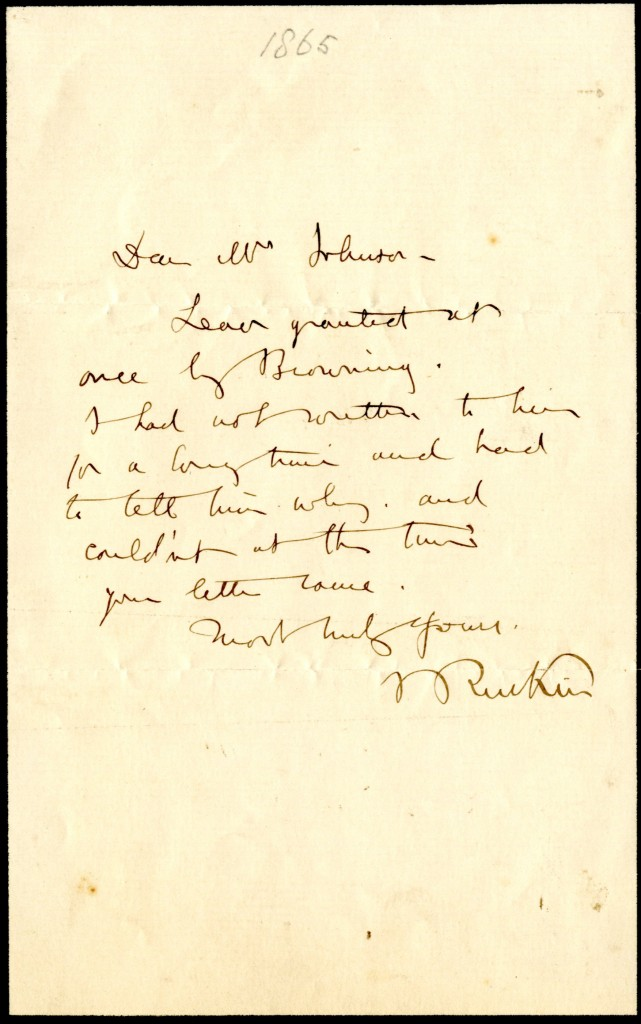 John Ruskin to Mrs. Johnson. [31 January 1865].