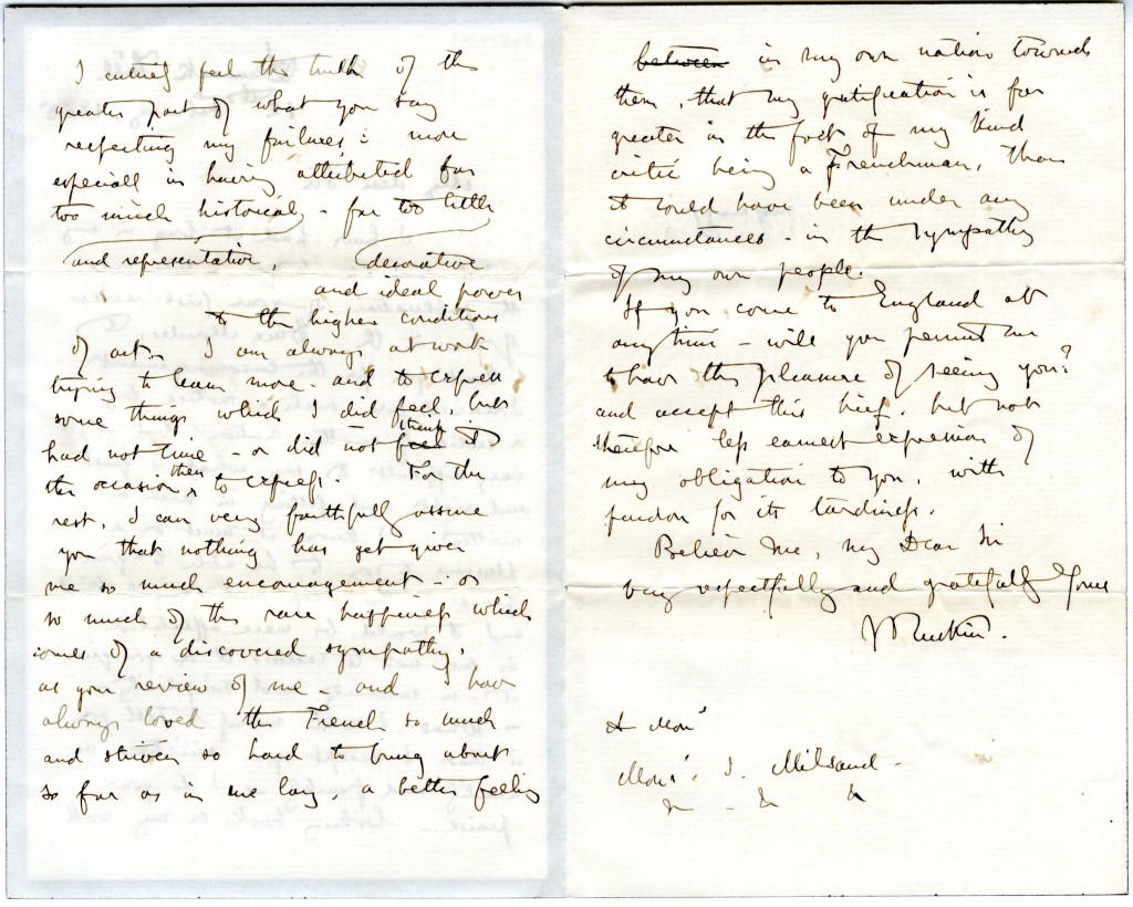 Letter from John Ruskin to Joseph Milsand, 12 February 1865. Page 2 and 3.