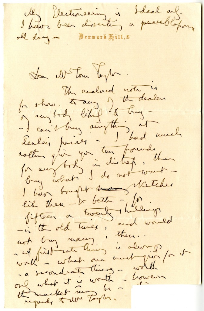 Letter from John Ruskin to Tom Taylor. [Undated].