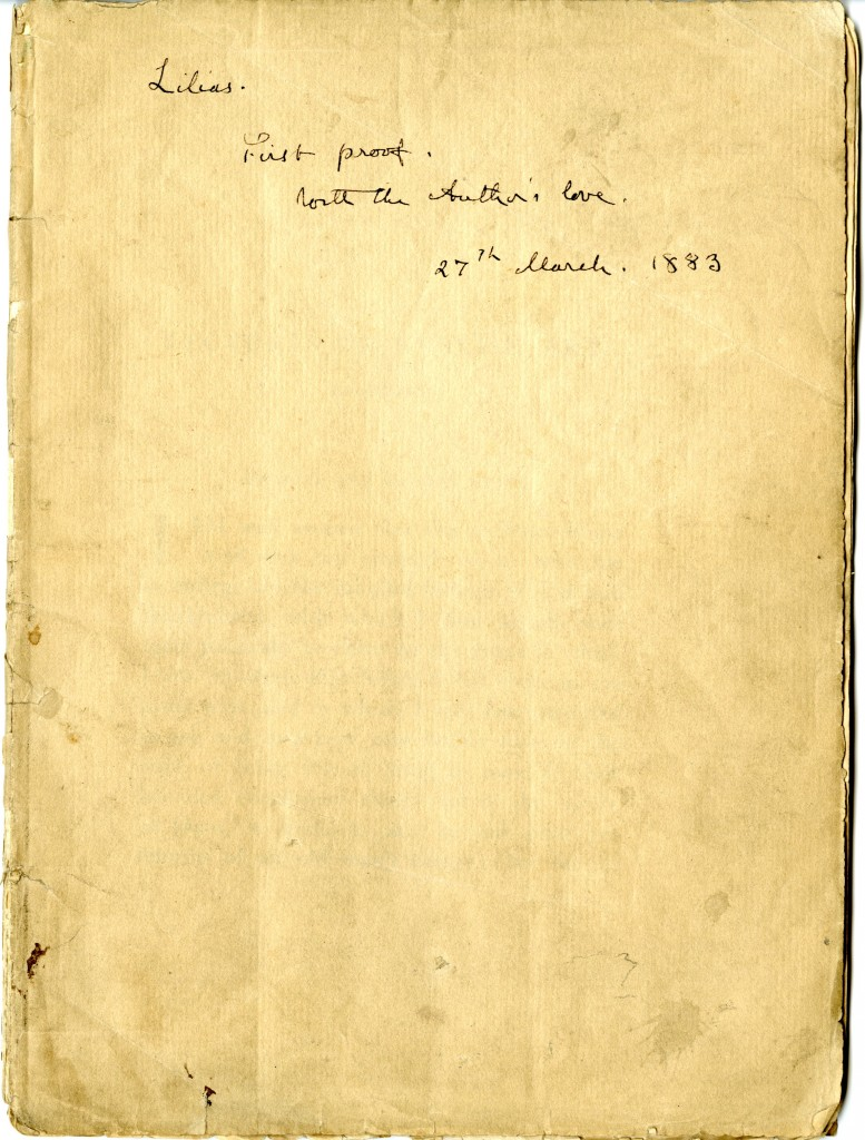 John Ruskin. Inscription on cover page of Lectures on Art.