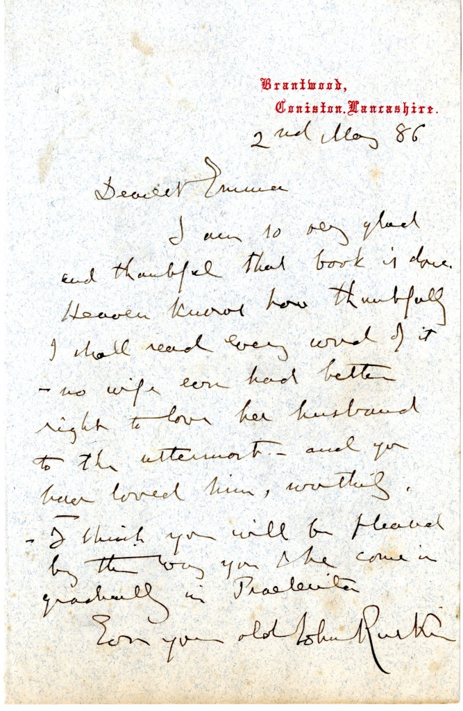 Letter from John Ruskin to Emma Sidney Edwardes. 2 May 1886.