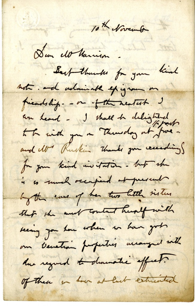 Letter from John Ruskin to W. H. Harrison. 10 November [1851]. Page 1.