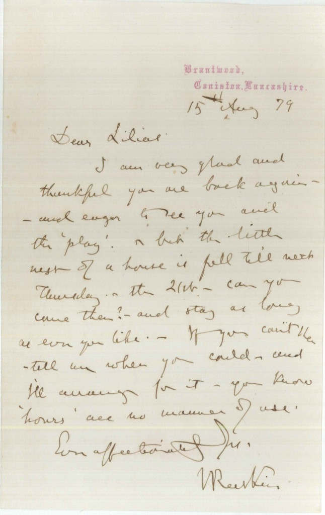 Letter from John Ruskin to Lilias Trotter. 15 August 1879.