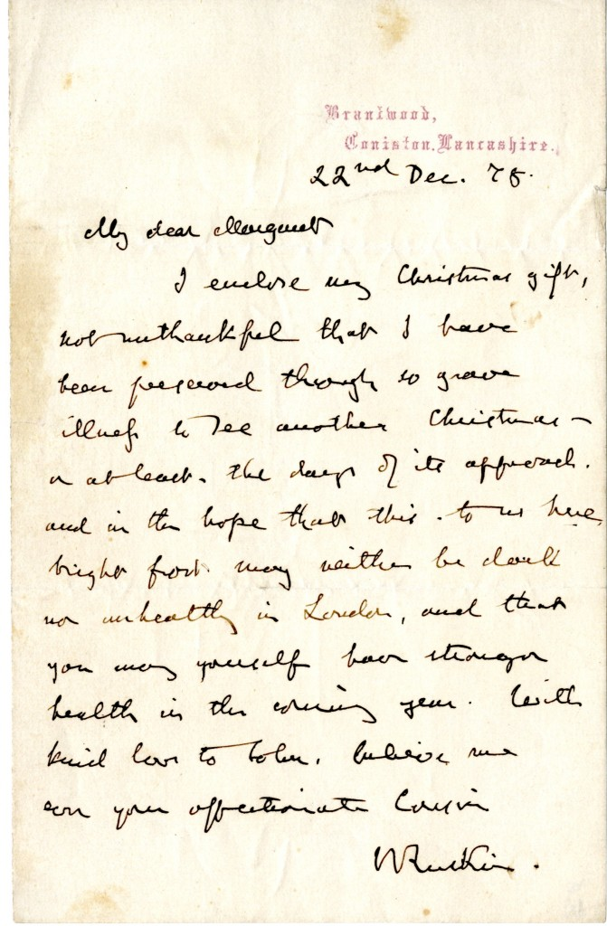Letter from John Ruskin to Margaret. 22 December 1878.