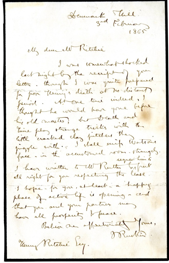 Letter from John Ruskin to Henry Ritchie. 3 February 1865.