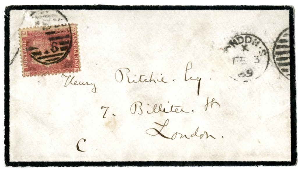 Ruskin to Henry Ritchie. 3 February 1865. Envelope.