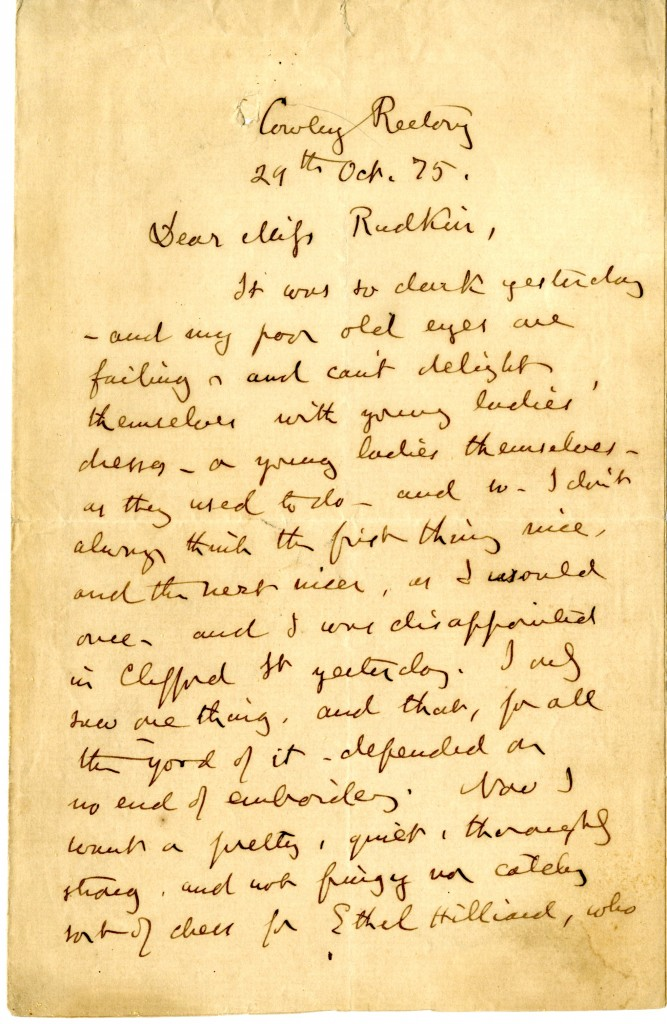 Letter from John Ruskin to Miss Rudkin. 29 October 1875. Page 1.