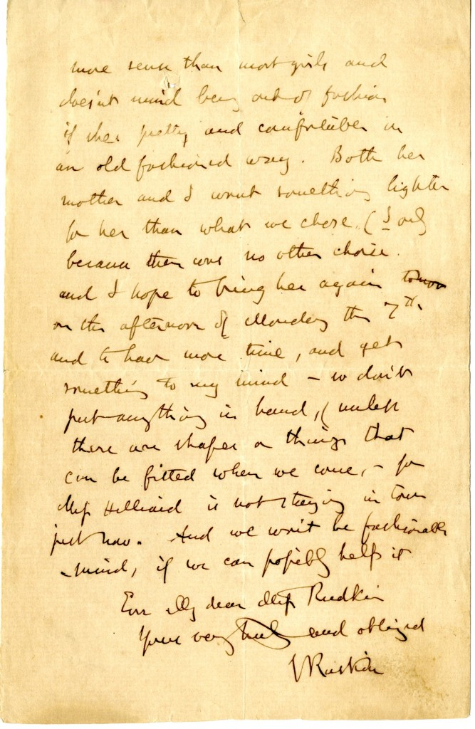 Letter from John Ruskin to Miss Rudkin. 29 October 1875. Page 2.