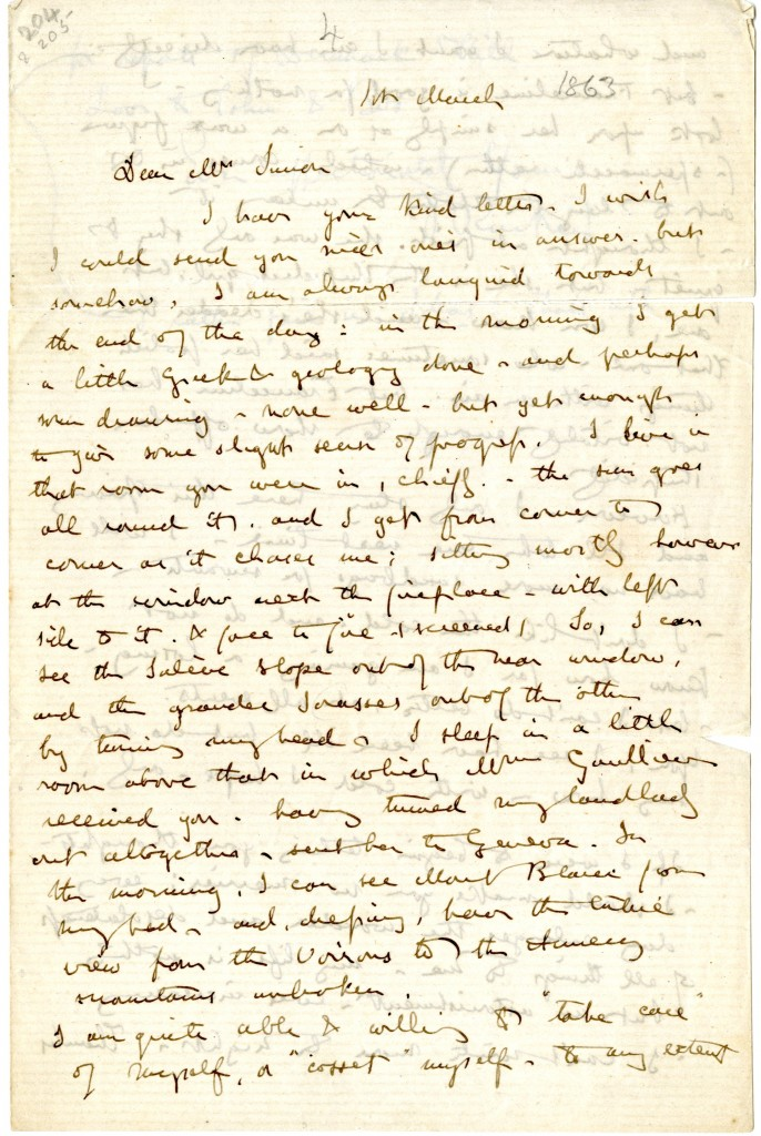 Letter from John Ruskin to [Jane O'Meara] Simon. Page 1.