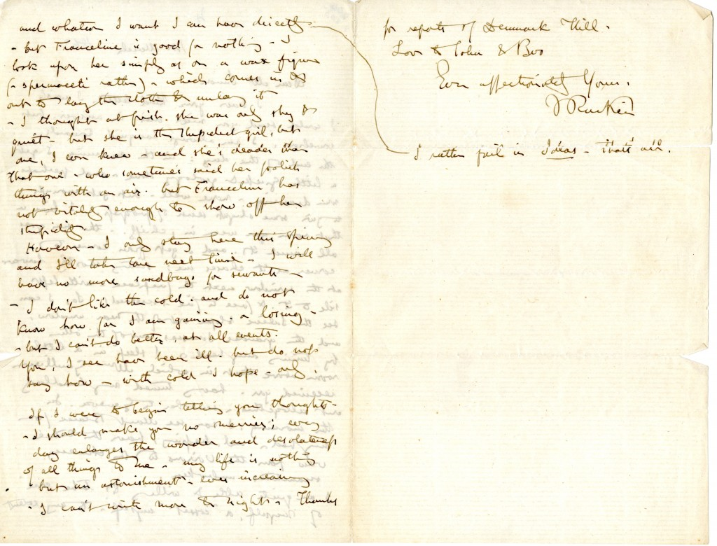 Letter from John Ruskin to [Jane O'Meara] Simon. 1 March 1863. Pages 2 and 3.