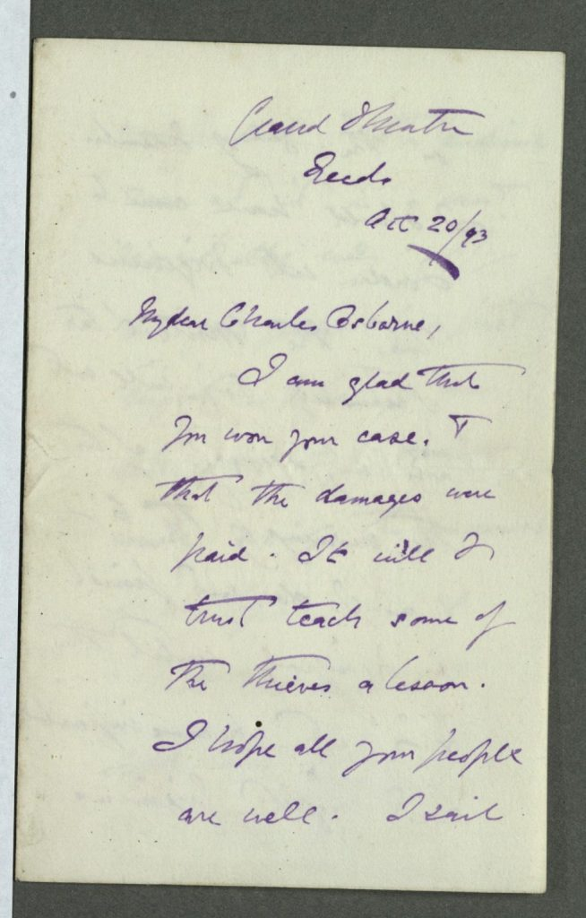 Wilson Barrett to Charles Osborne. 20 October 1893.