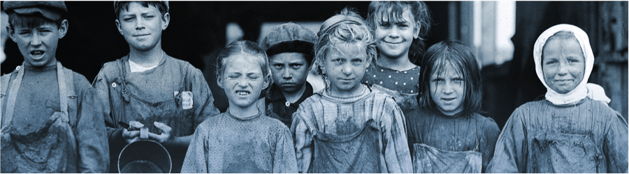 A group of children in dirty clothing, appearing to be from the 19th century