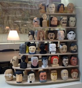 Students in Dr. Groves Popular Architecture and Design class at the University of Melbourne whittled heads of pop culture figures as a class assignment.