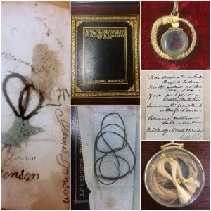 From left: Hair album of the Estes Family (Texas Collection), manuscript of EBB's 'Lines on the Portrait of the Widow of Riego' and lock of the widow's hair (H0508), replica of a locket worn by EBB containing RB's hair (H0493), manuscript page of Leigh Hunt's 'To Robert Batty, M.D., on His Giving Me a Lock of Milton's Hair' (ABL Victorian Collection), and a lock of EBB's hair (H0479).